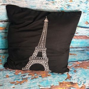 Other - Black Eiffel Tower Accent Pillow